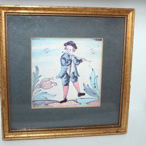 Vintage Colonial Boy Playing Flute Framed Print